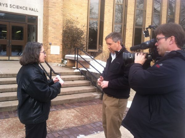 Fox National news reporter Douglas Kennedy interviewing Marya Lieberman at Saint Mary's College on a snowy day in January, 2014
